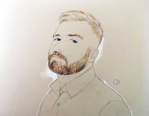 Olivier Flandrois, miniportrait, beard, drawing, dessin, Karolek