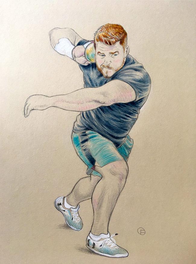 Olivier Flandrois, Joe-Kovacs, Champion, sport, drawing, dessin, USA